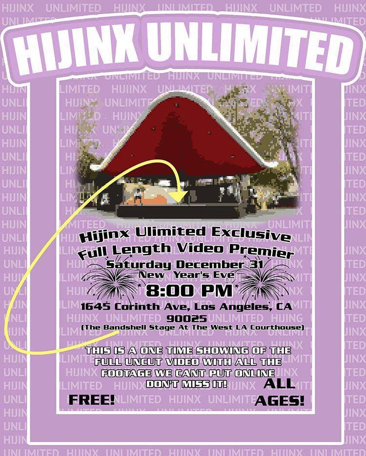 Hijinx Unlimited Video Premiere Flyer 2016 12 31